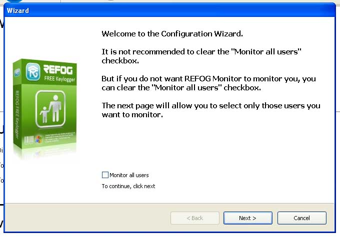 Uncheck 'Monitor all users' at the first configuration wizard dialog